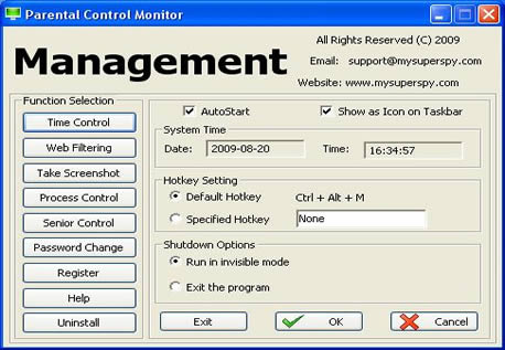 Parental Control Monitor Screen shot